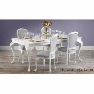 kursi makan modern jepara duco putih