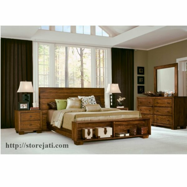 set tempat tidur jati minimalis
