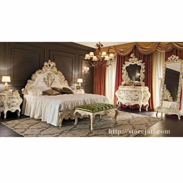 set tempat tidur ukiran duco putih