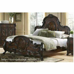 tempat tidur ukiran kayu jati