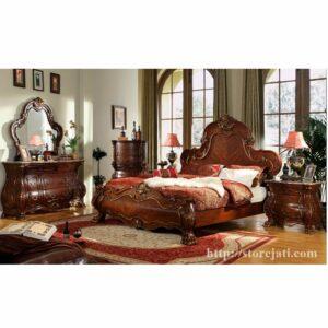 set tempat tidur jati mewah
