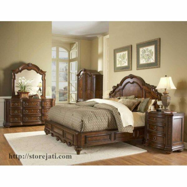 tempat tidur set dari kayu jati