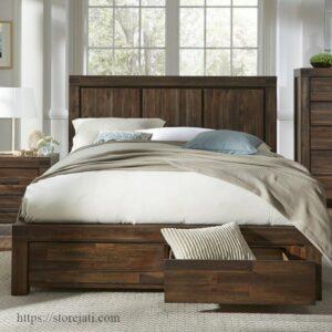 tempat tidur dari kayu jati
