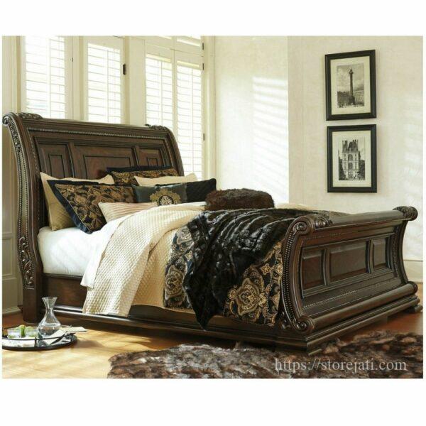 tempat tidur kayu jati ukir